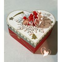 Boîte de naissance bébé Noël fille rouge et blanc