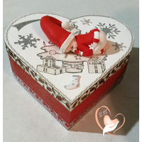 Boîte de naissance bébé Noël garçon rouge et blanc - au cœur des arts