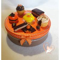 Boîte à biscuits ou chocolats, orange et chocolat- au coeur des arts