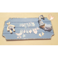 Plaque de porte bébé garçon bleu- au coeur des arts