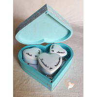 45B-Boîte de naissance bleue lagon bébé fille - au coeur des arts