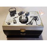 Boîte à bijoux noire et blanche - au coeur des arts