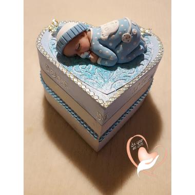 3-Boîte à dents de lait coeur bébé garçon - au coeur des arts