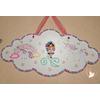 Plaque de porte fille arc en ciel et licorne - au coeur des arts