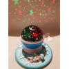 Veilleuse ciel étoilé lampe lumineuse bleue sur socle en bois bebe garçon - au coeur des arts