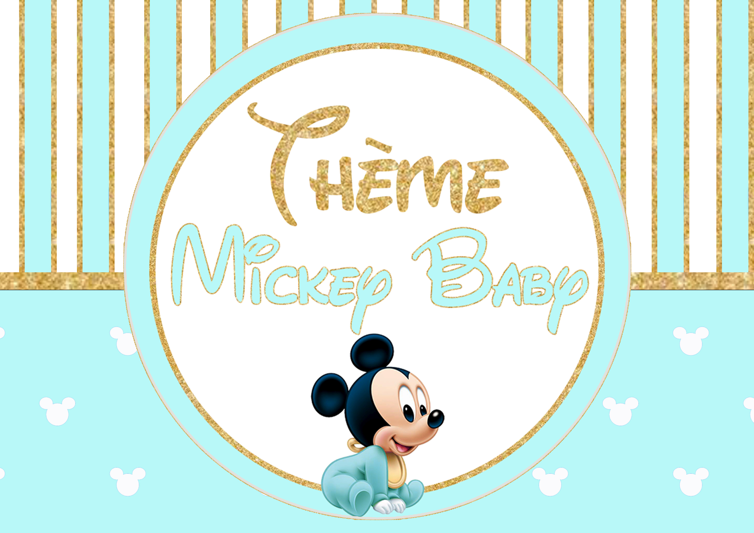 theme mickey baby bleu or blanc