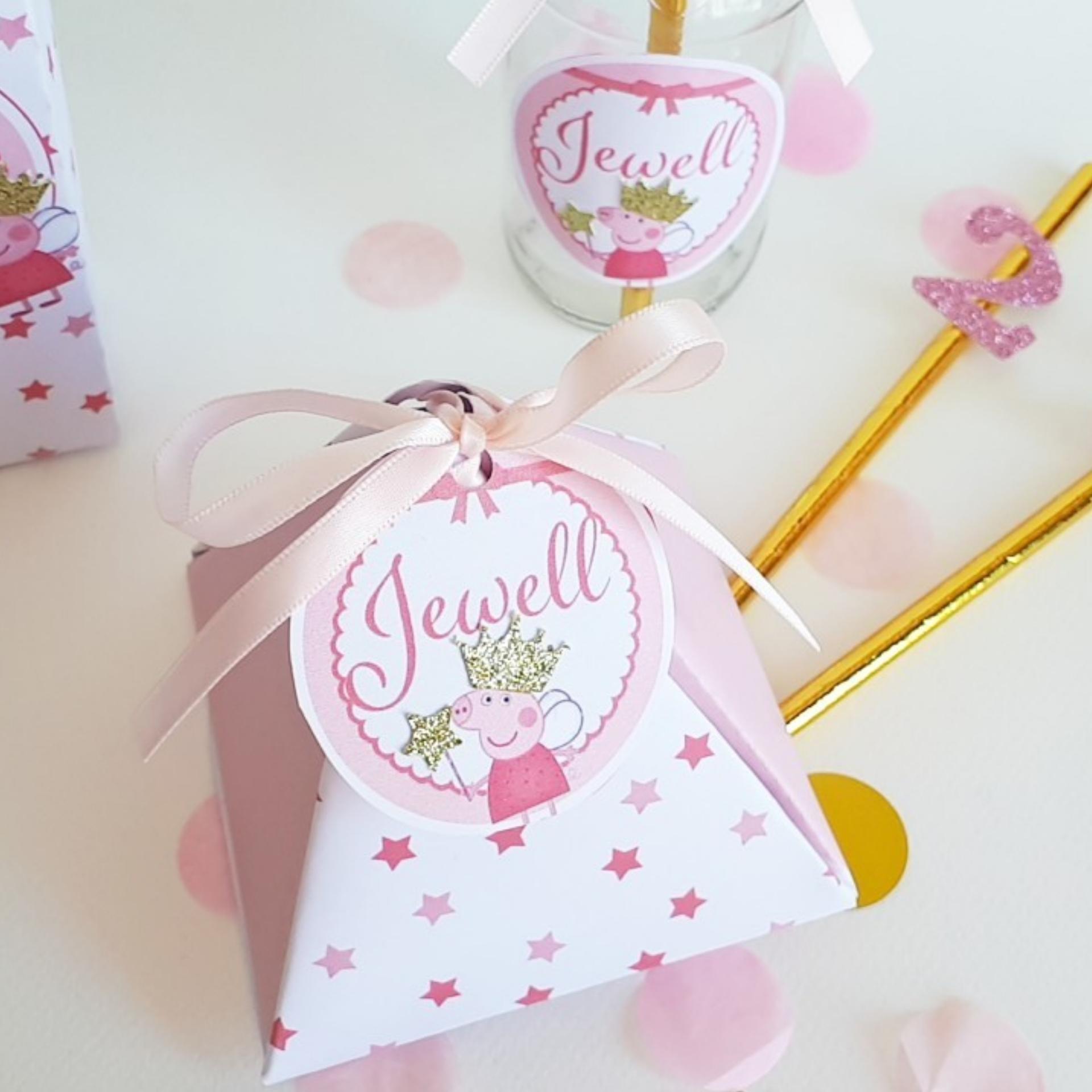 Boite cadeau invitée ,a dragée ou a bonbon.personnalisé  pepa pig -ohpartybox