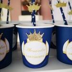 gobelet personnalisé bleu roi theme prince