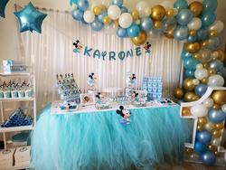 anniversaire one 1 an mickey bleu bébé