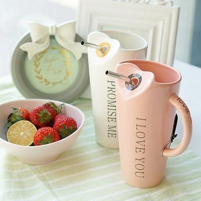 Lovely Ceramic Straw Mug