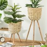 Garden-Decoration-Floor-Vase-Plant-Stand-Wickerwork-Flower-Pot-Holder-Display-Potted-Rack-Rustic-Decor-Plant