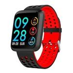 montre sport connectée avec bracelet rouge