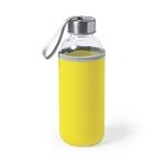 gourde en verre avec étui en néoprène jaune