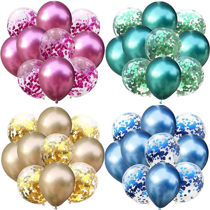 Les 10 ballons à confettis et de couleur métallique