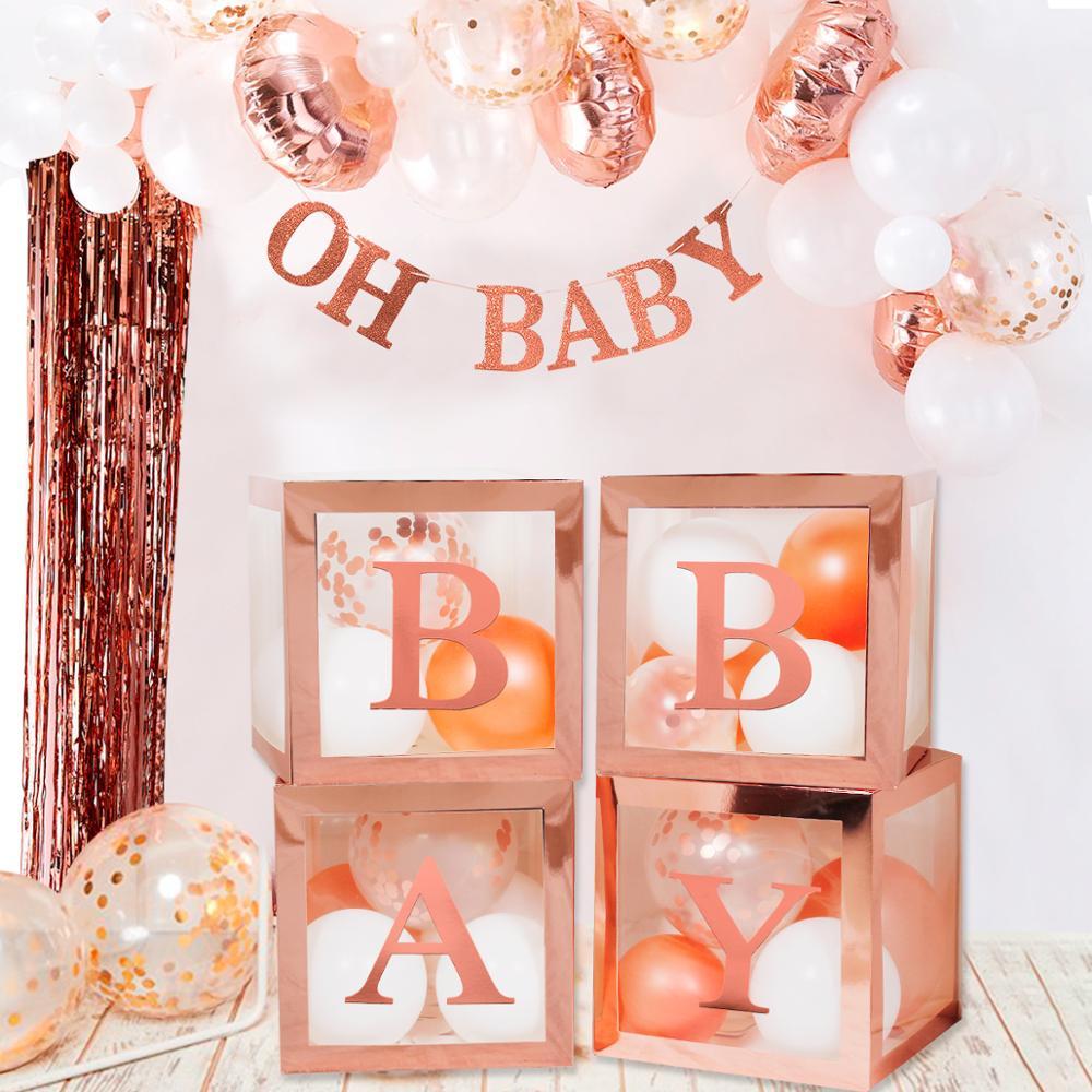 Les boîtes transparentes BABY à contours roses pour ballons