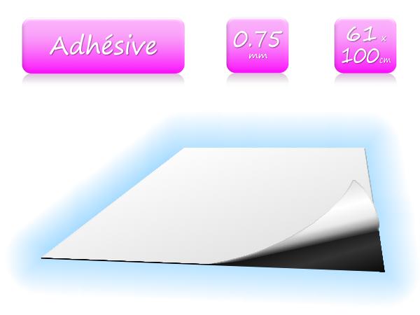 Feuille magnétique adhésive - largeur 61cm - vendu au mètre - ép. 0.75mm