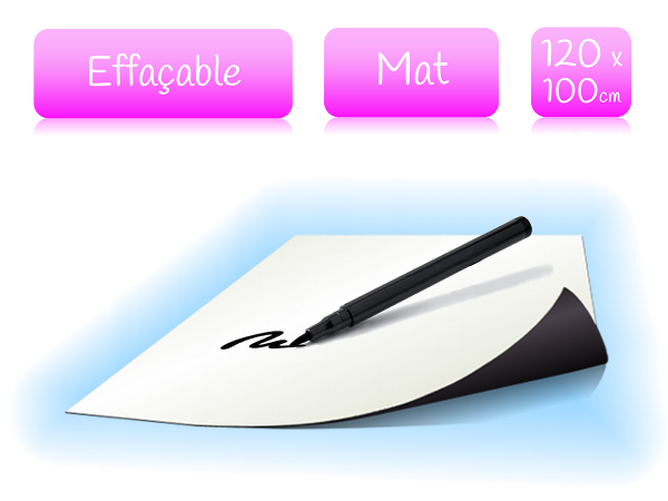 Feuille magnétique effaçable - blanc mat - largeur 120cm - vendu au mètre