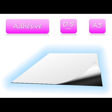 Feuille magnétique adhésive - 0.5mm - A3