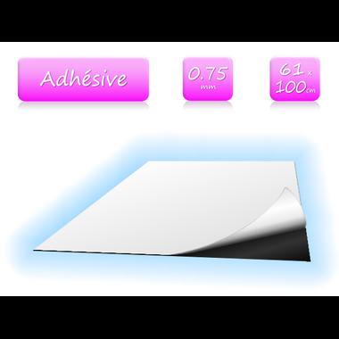 Feuille magnétique adhésive - 0.75mm - 61x100cm