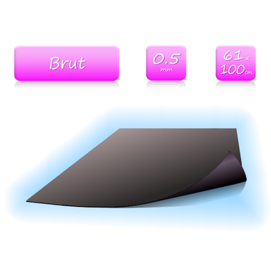 Feuille magnétique brut - 0.5mm - 61x100cm