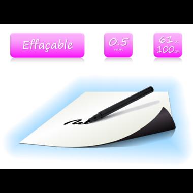 Feuille magnétique blanc effaçable - 0.5mm - 61x100cm