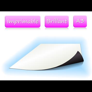 Papier magnétique imprimable - brillant - A3
