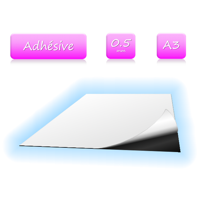 Feuille magnétique adhésive - format A3 - ép. 0.5mm