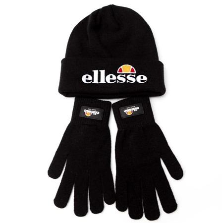 Ellesse - Lot bonnets et gants Velly et Bubb - Noir