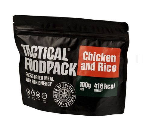 Riz et poulet en ration lyophilisée