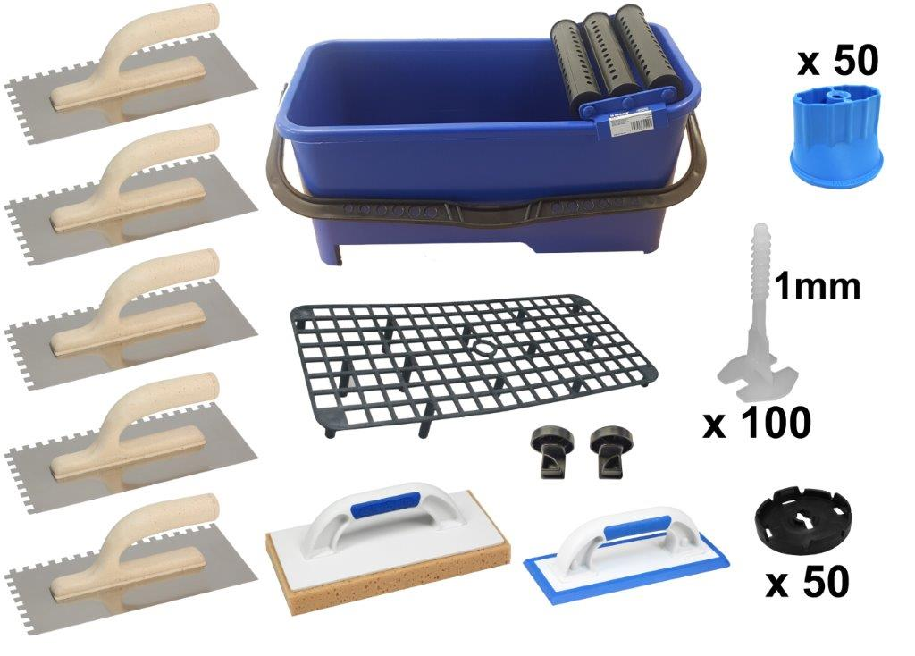 Kit Travaux Carrelage Joints 1mm 20 Litres 14 Elements Tete Standard Seau Recipient E Carreleur