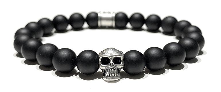 Bracelet-Homme-Perles-Skull-Black-8mm
