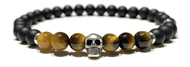 Bracelet-Homme-Perles-Skull-Oeil-Tigre-6mm