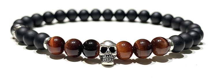 Bracelet-Homme-Perles-Skull-Oeil-Tigre-Rouge-6mm