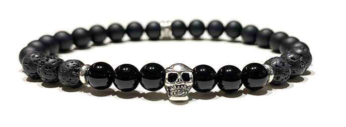Bracelet-Homme-Perles-Skull-black-6mm