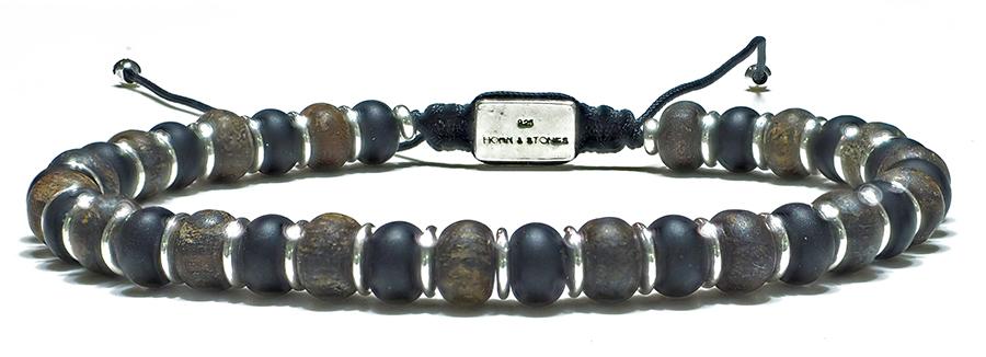 Bracelet Homme Bronzite & Onyx