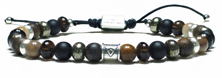 Bracelet-Homme-Perles-Bois-Petrifie