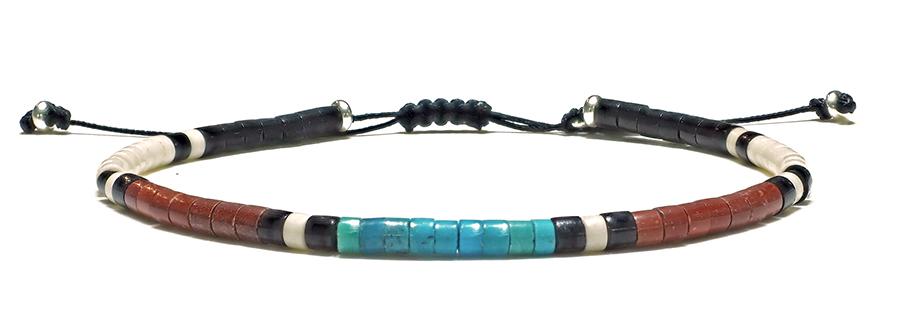 Pueblo 3mm - Bracelet Homme Turquoise & Pipestones