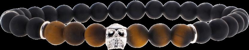 Skull Oeil de Tigre Mat 6mm