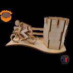 MAQUETTE EN BOIS POT A CRAYONS CYCLISTE TOUR DE FRANCE FABRICATION ARTISANALE FRANCAISE 3