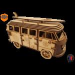 MAQUETTE EN BOIS COMBI VW VOLKSWAGEN HIPPY CHIC FABRICATION ARTISANALE FRANCAISE 2