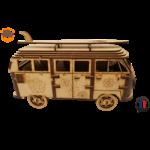 MAQUETTE EN BOIS COMBI VW VOLKSWAGEN HIPPY CHIC FABRICATION ARTISANALE FRANCAISE 1