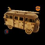 MAQUETTE EN BOIS COMBI VW VOLKSWAGEN HIPPY CHIC FABRICATION ARTISANALE FRANCAISE 5