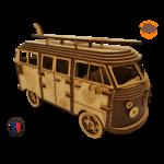 MAQUETTE EN BOIS COMBI VW VOLKSWAGEN HIPPY CHIC FABRICATION ARTISANALE FRANCAISE 10
