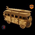 MAQUETTE EN BOIS COMBI VW VOLKSWAGEN HIPPY CHIC FABRICATION ARTISANALE FRANCAISE 12