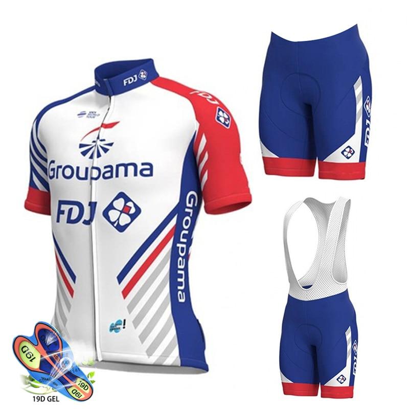 Ensemble maillot cycliste 2019 Pro Team FDJ vêtements cyclisme vtt cuissard à bretelles vélo maillots