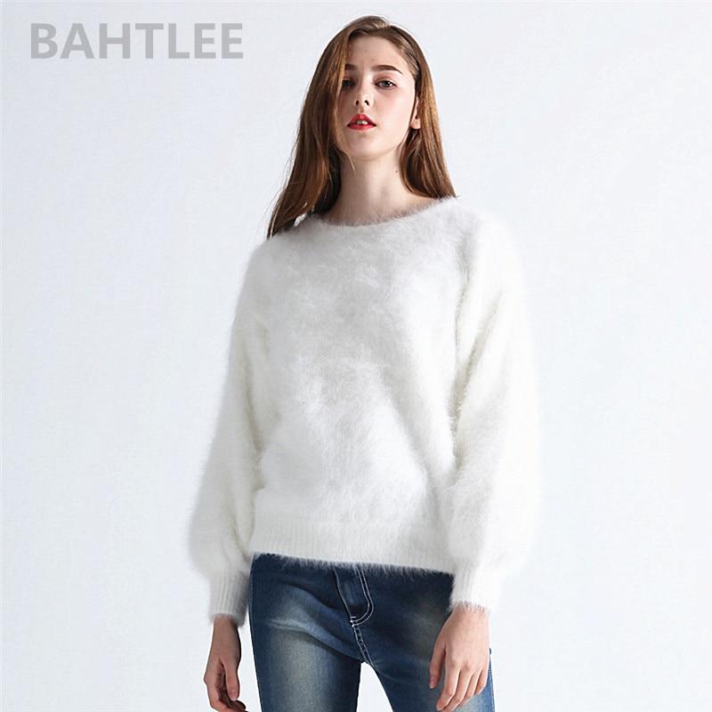 automne hiver femmes angora tricoté pull col rond lanterne manches vison cachemire épais garder au chaud