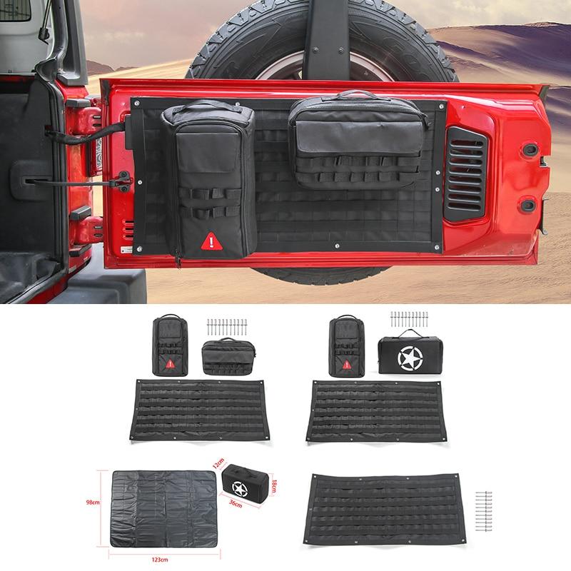 accessoires de voiture porte arrière sacs de rangement trousse à outils organisateur tapis de Camping pour Jeep Wrangler JK JL 2007-2018 +