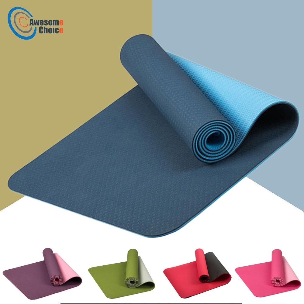 183*61 cm 6 mm épais Double couleur anti-dérapant TPE tapis de Yoga qualité exercice Sport tapis pour Fitness Gym