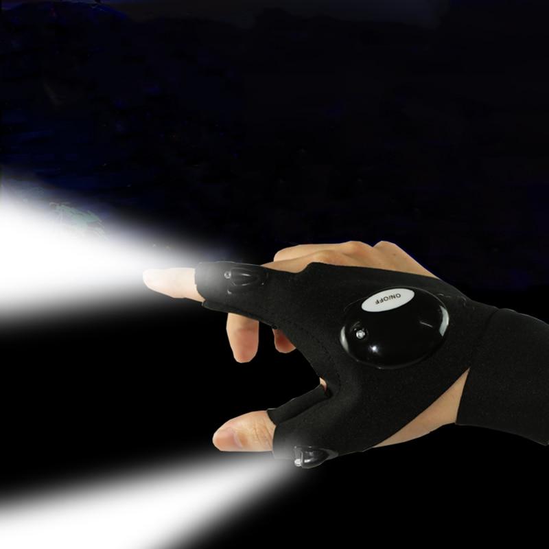 Gant sans doigts lampe de poche LED torche outil extérieur pêche Camping randonnée survie