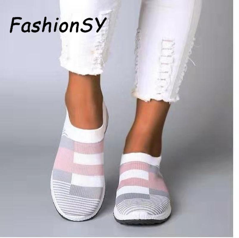 femmes baskets vulcanisées chaussures chaussette baskets femmes été sans lacets mocassins